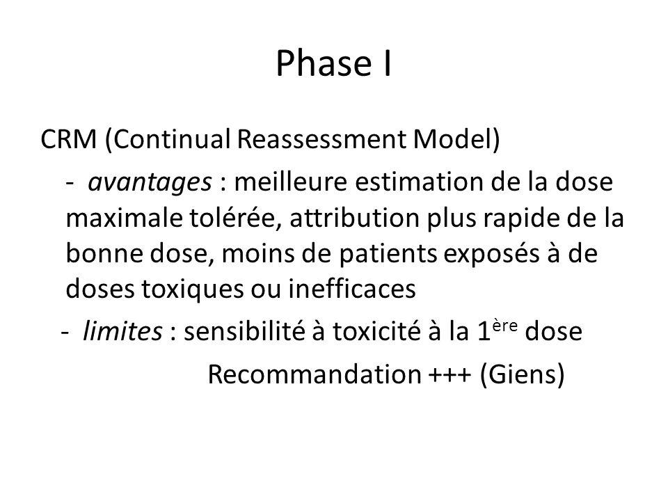 Phase I CRM (Continual Reassessment Model) - avantages : meilleure estimation de la dose maximale tolérée, attribution plus rapide de la bonne dose, m