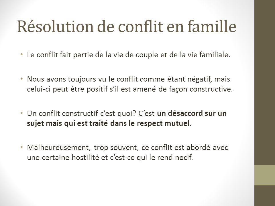 Résolution de conflit en famille Le conflit fait partie de la vie de couple et de la vie familiale. Nous avons toujours vu le conflit comme étant néga