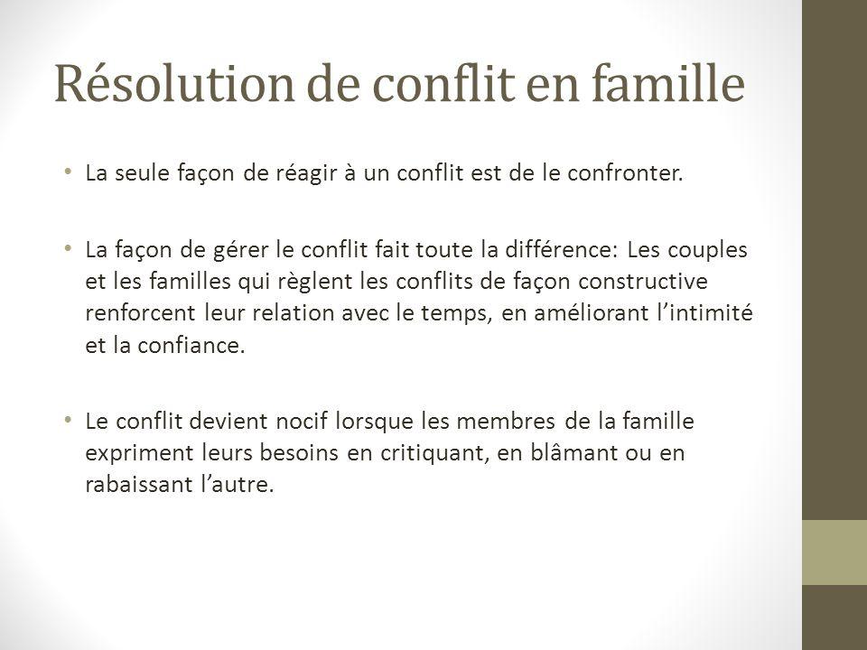 Résolution de conflit en famille La seule façon de réagir à un conflit est de le confronter. La façon de gérer le conflit fait toute la différence: Le