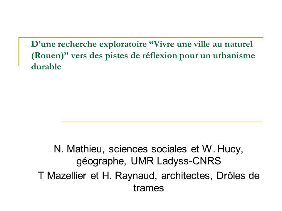 Dune recherche exploratoire Vivre une ville au naturel (Rouen) vers des pistes de réflexion pour un urbanisme durable N. Mathieu, sciences sociales et