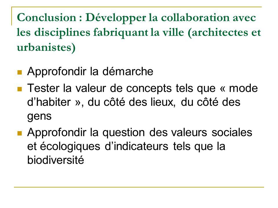 Conclusion : Développer la collaboration avec les disciplines fabriquant la ville (architectes et urbanistes) Approfondir la démarche Tester la valeur de concepts tels que « mode dhabiter », du côté des lieux, du côté des gens Approfondir la question des valeurs sociales et écologiques dindicateurs tels que la biodiversité