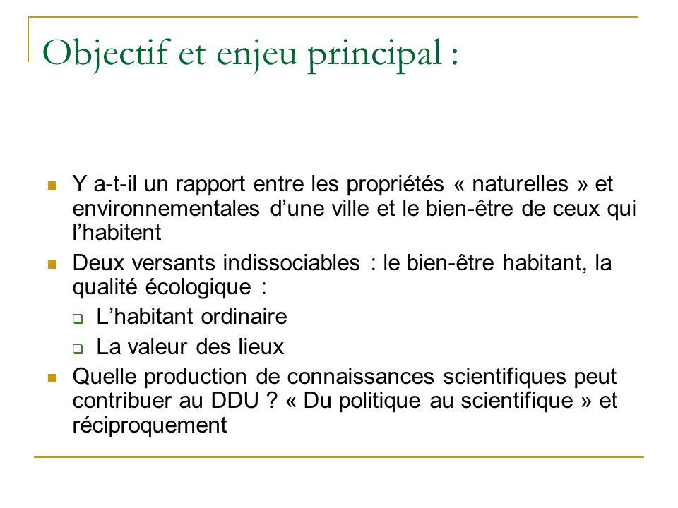 Objectif et enjeu principal : Y a-t-il un rapport entre les propriétés « naturelles » et environnementales dune ville et le bien-être de ceux qui lhab