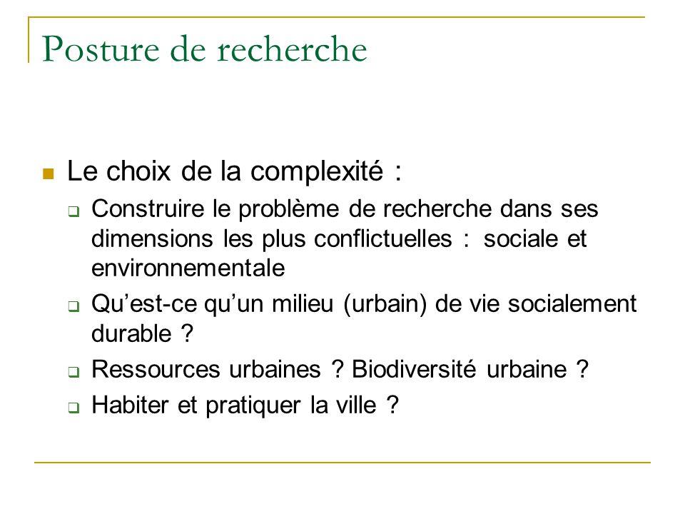 Posture de recherche Le choix de la complexité : Construire le problème de recherche dans ses dimensions les plus conflictuelles : sociale et environnementale Quest-ce quun milieu (urbain) de vie socialement durable .