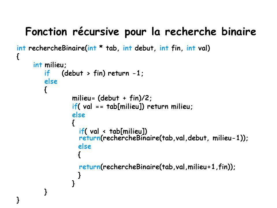 Recherche binaire programmation non-récursive int RechercheBinaire( int * tab, int debut, int fin,int val) { int i = debut - 1; int j = fin + 1; while ( i+1 != j) { int milieu = (i+j)/2; if ( val < tab[milieu]) j = milieu; if (val == tab[milieu]) return milieu; if (val> tab[milieu]) i = milieu; } return -1; }