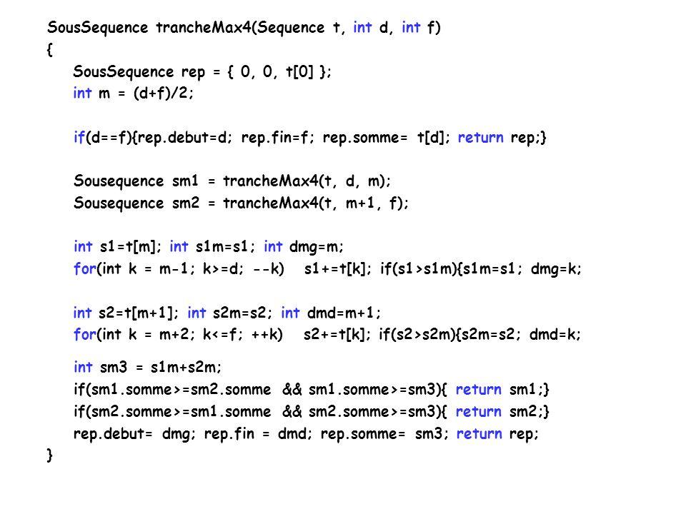 Sous-séquence de somme maximale Cas possible: Cas 1: La séquence est situé dans la première moitié.
