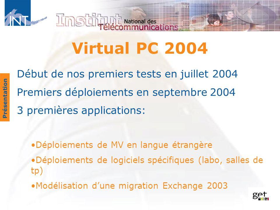 Début de nos premiers tests en juillet 2004 Premiers déploiements en septembre 2004 3 premières applications: Déploiements de MV en langue étrangère D