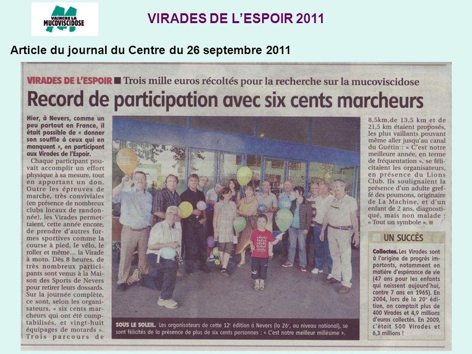 VIRADES DE LESPOIR 2011 Article du journal du Centre du 26 septembre 2011