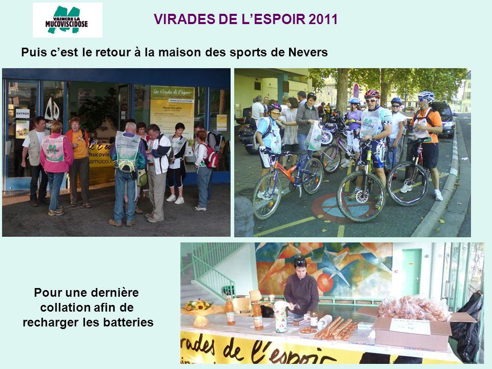 VIRADES DE LESPOIR 2011 Puis cest le retour à la maison des sports de Nevers Pour une dernière collation afin de recharger les batteries