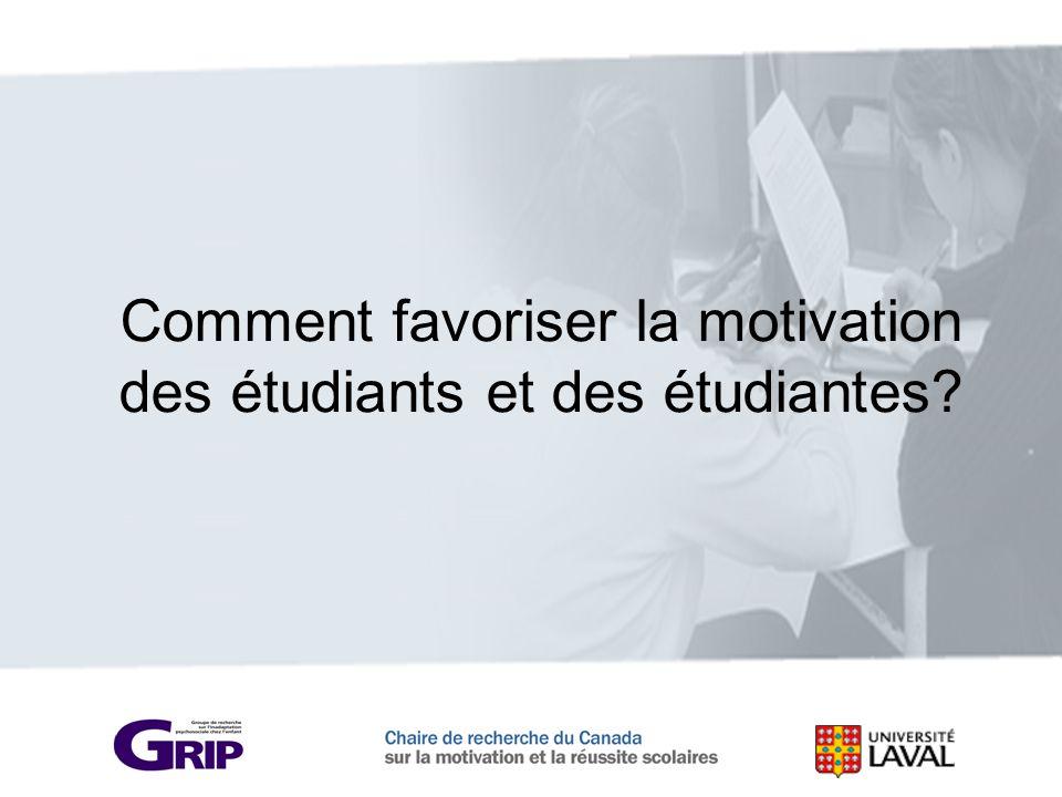 Comment favoriser la motivation des étudiants et des étudiantes?