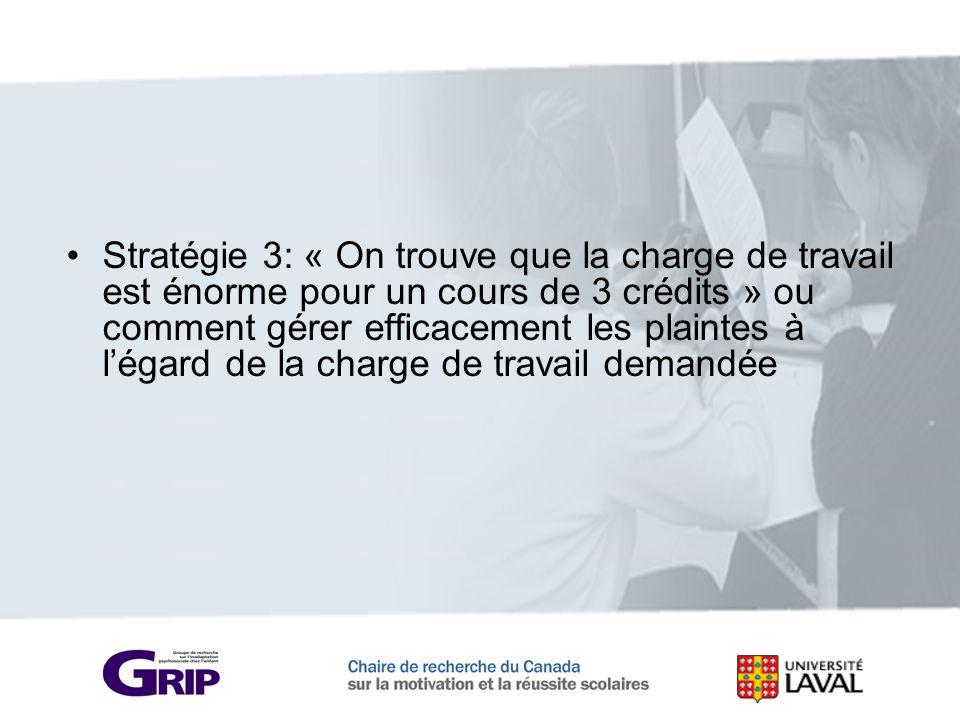 Stratégie 3: « On trouve que la charge de travail est énorme pour un cours de 3 crédits » ou comment gérer efficacement les plaintes à légard de la ch