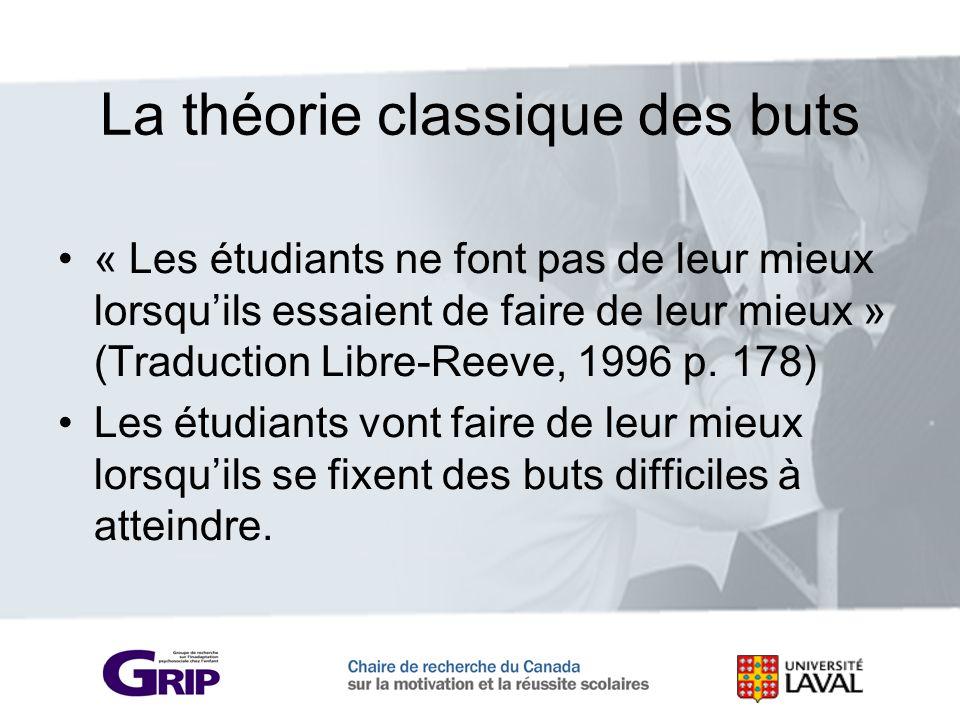 La théorie classique des buts « Les étudiants ne font pas de leur mieux lorsquils essaient de faire de leur mieux » (Traduction Libre-Reeve, 1996 p. 1