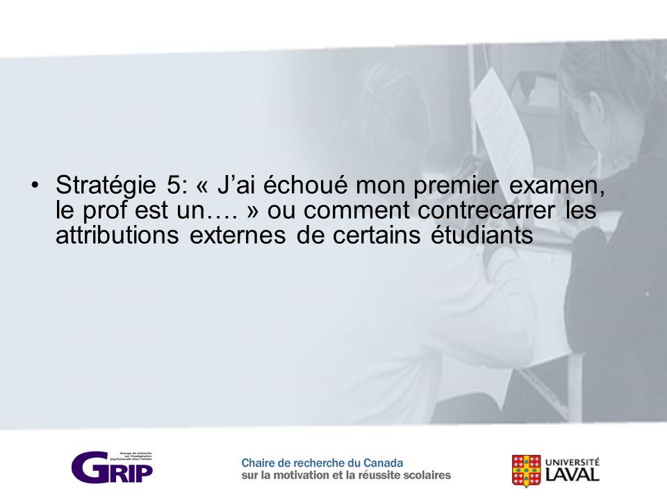 Stratégie 5: « Jai échoué mon premier examen, le prof est un…. » ou comment contrecarrer les attributions externes de certains étudiants