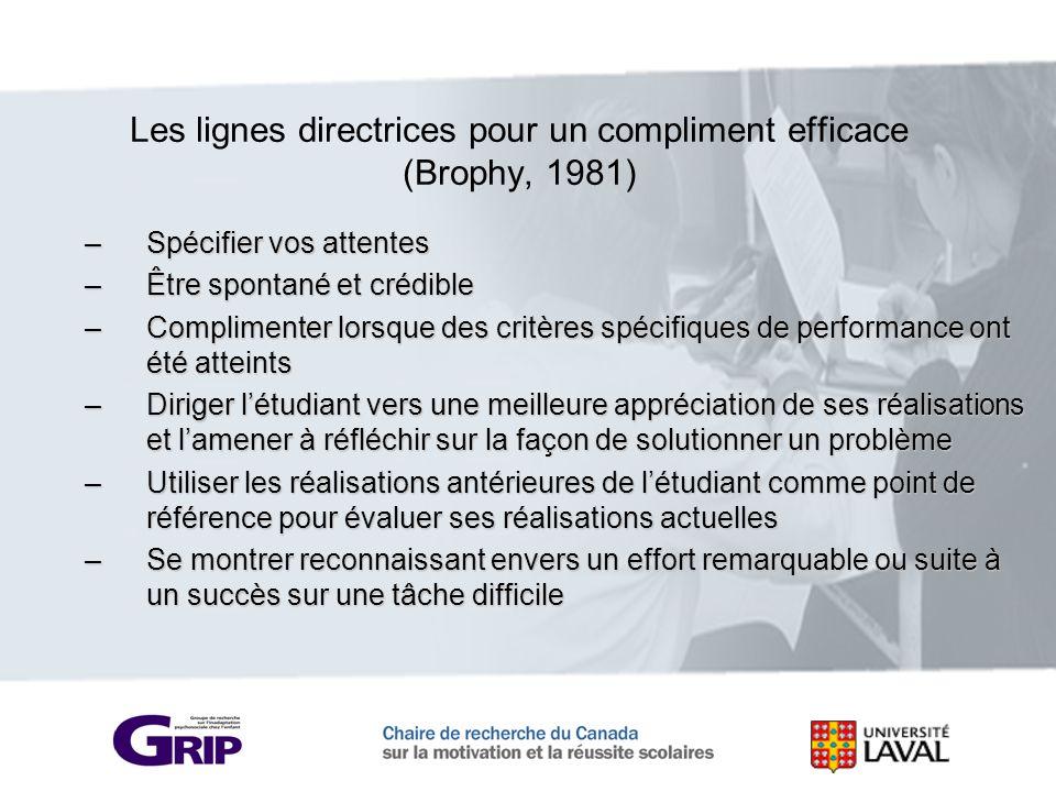 Les lignes directrices pour un compliment efficace (Brophy, 1981) –Spécifier vos attentes –Être spontané et crédible –Complimenter lorsque des critère