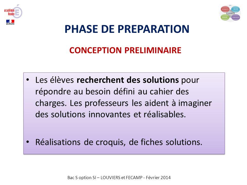 Bac S option SI – LOUVIERS et FECAMP - Février 2014 PHASE DE PREPARATION CONCEPTION PRELIMINAIRE Réalisation de fiches solutions