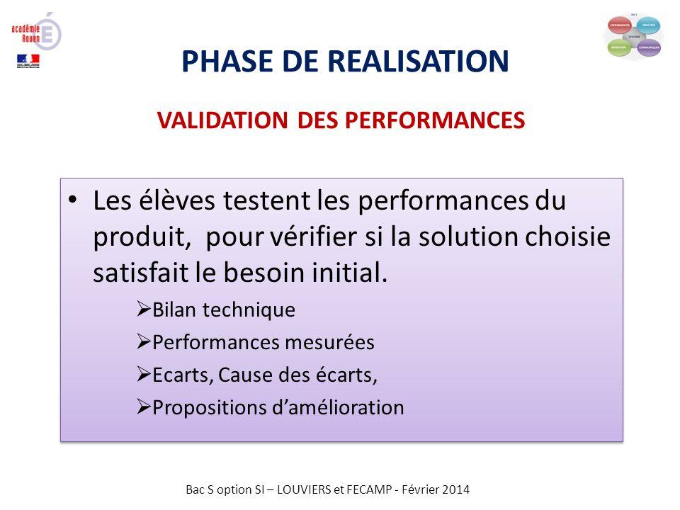 Bac S option SI – LOUVIERS et FECAMP - Février 2014 PHASE DE REALISATION VALIDATION DES PERFORMANCES