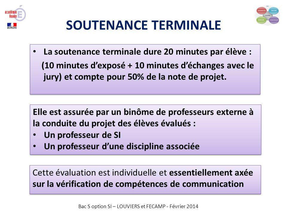 Bac S option SI – LOUVIERS et FECAMP - Février 2014 REVUE DE PROJET Evaluation des compétences pendant la revue de projet