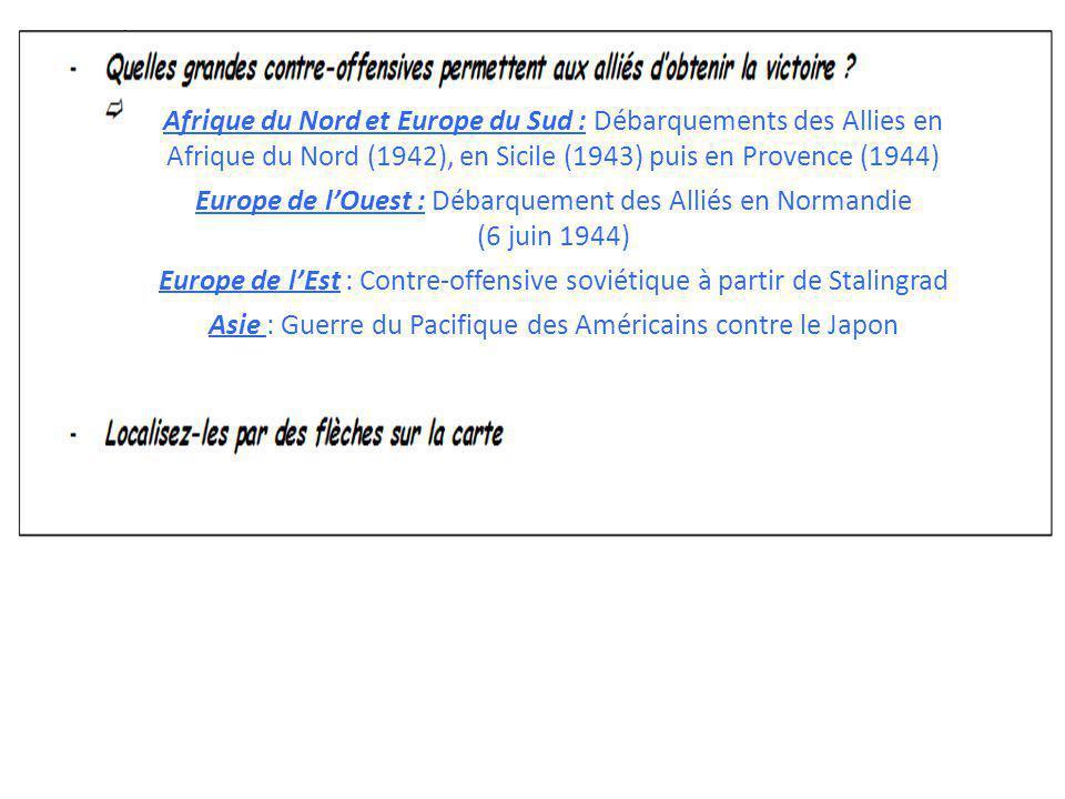 Afrique du Nord et Europe du Sud : Débarquements des Allies en Afrique du Nord (1942), en Sicile (1943) puis en Provence (1944) Europe de lOuest : Déb