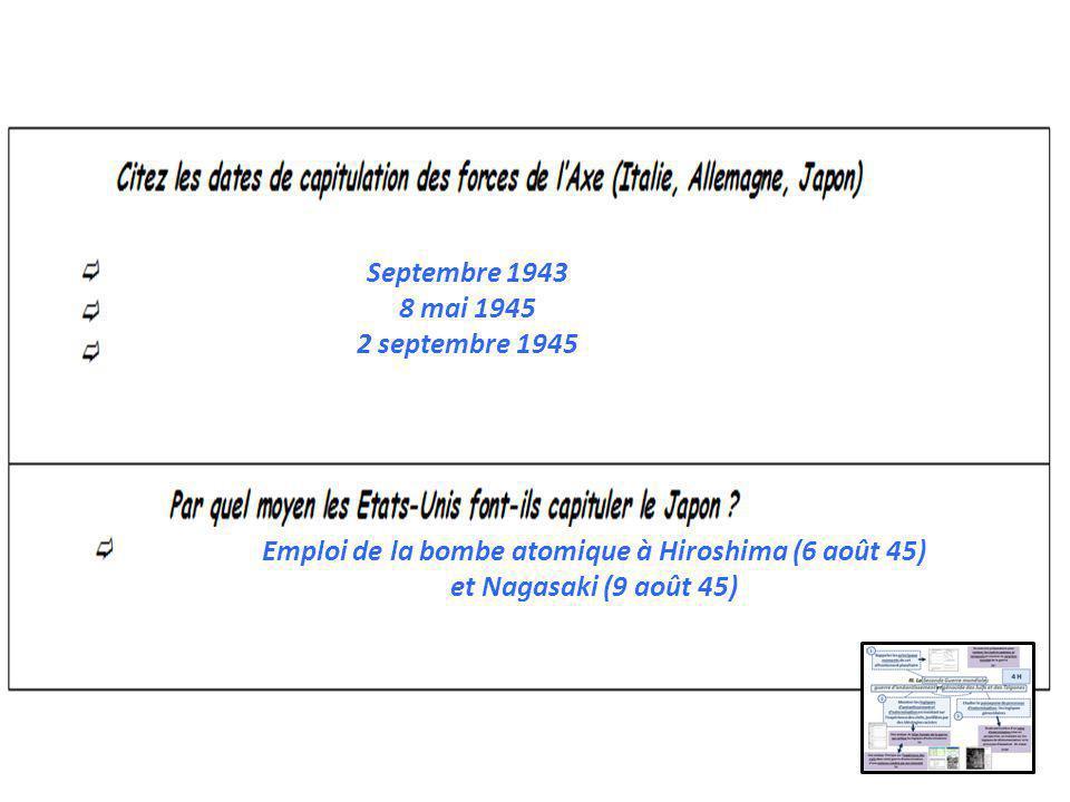 Septembre 1943 8 mai 1945 2 septembre 1945 Emploi de la bombe atomique à Hiroshima (6 août 45) et Nagasaki (9 août 45)