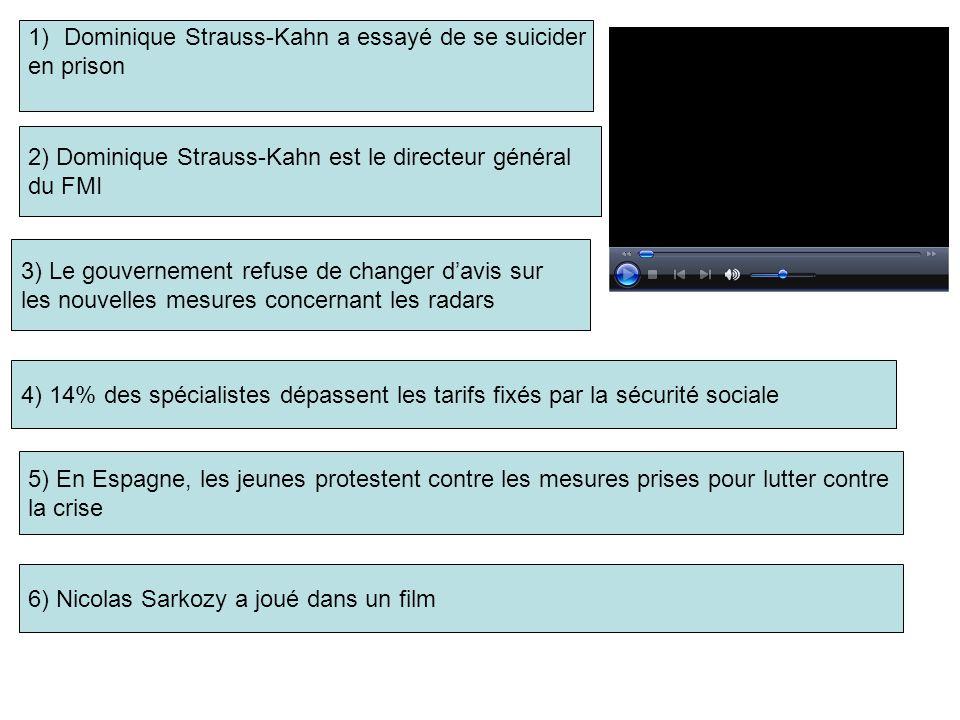 1)Dominique Strauss-Kahn a essayé de se suicider en prison 2) Dominique Strauss-Kahn est le directeur général du FMI 3) Le gouvernement refuse de changer davis sur les nouvelles mesures concernant les radars 5) En Espagne, les jeunes protestent contre les mesures prises pour lutter contre la crise 4) 14% des spécialistes dépassent les tarifs fixés par la sécurité sociale 6) Nicolas Sarkozy a joué dans un film