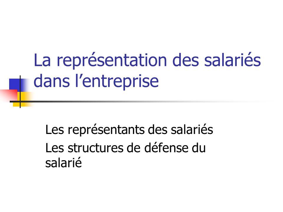La représentation des salariés dans lentreprise Les représentants des salariés Les structures de défense du salarié