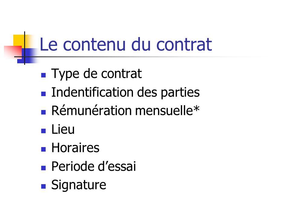Le contrat de travail Obligatoirement écrit Lie lemployeur et le salarié Fixe les conditions de travail