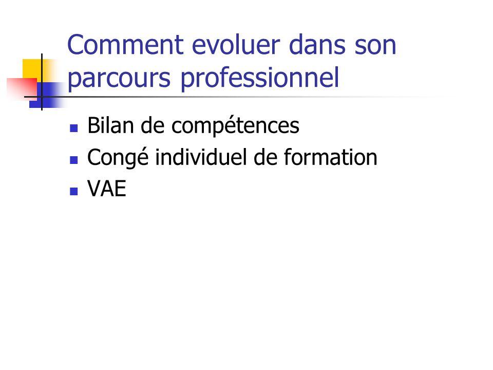 Comment evoluer dans son parcours professionnel Bilan de compétences Congé individuel de formation VAE
