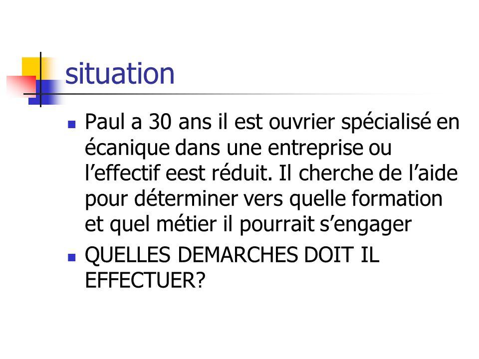 situation Paul a 30 ans il est ouvrier spécialisé en écanique dans une entreprise ou leffectif eest réduit.