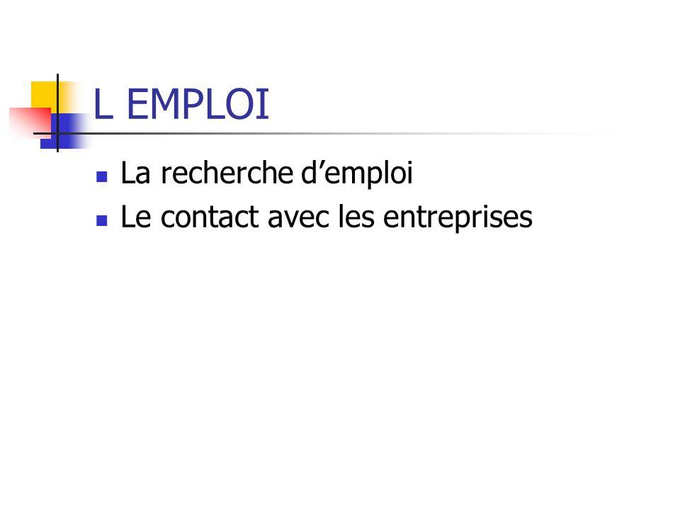 L EMPLOI La recherche demploi Le contact avec les entreprises