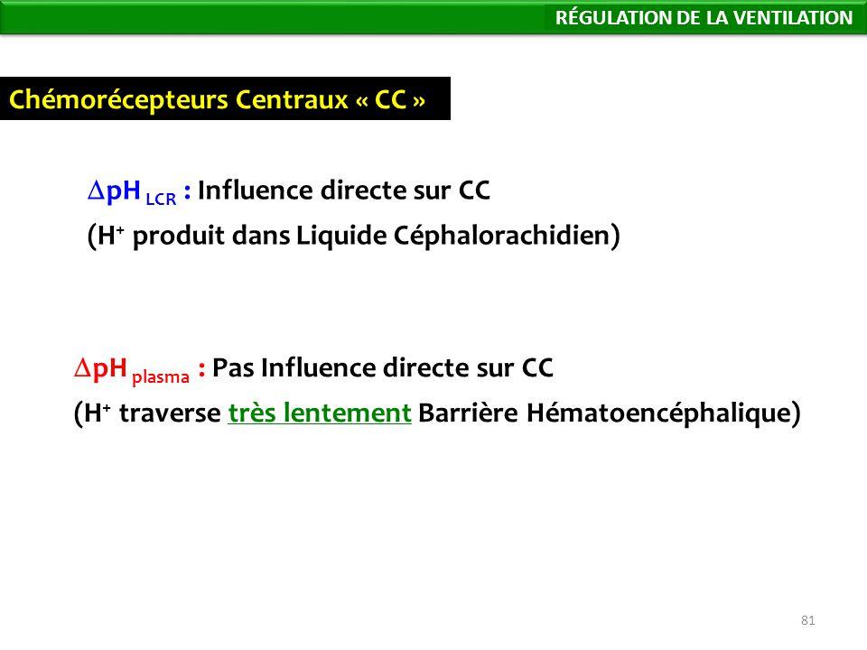 81 Chémorécepteurs Centraux « CC » pH plasma : Pas Influence directe sur CC (H + traverse très lentement Barrière Hématoencéphalique) pH LCR : Influence directe sur CC (H + produit dans Liquide Céphalorachidien) Régulation de la Ventilation RÉGULATION DE LA VENTILATION