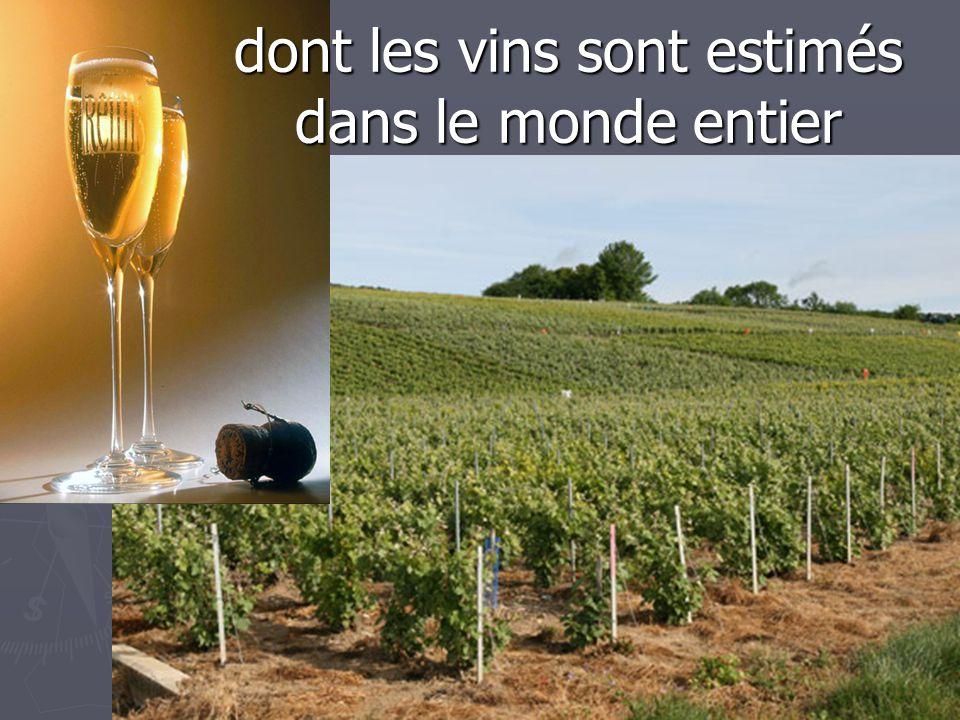 dont les vins sont estimés dans le monde entier