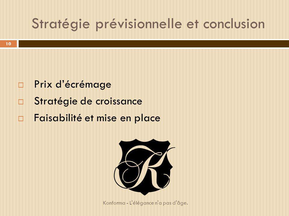 Stratégie prévisionnelle et conclusion Prix décrémage Stratégie de croissance Faisabilité et mise en place 10 Konforma - L'élégance n'a pas d'âge.