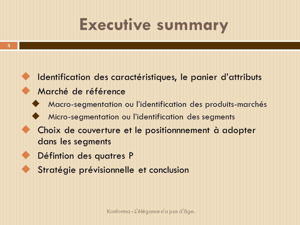 Executive summary Identification des caractéristiques, le panier dattributs Marché de référence Macro-segmentation ou lidentification des produits-mar
