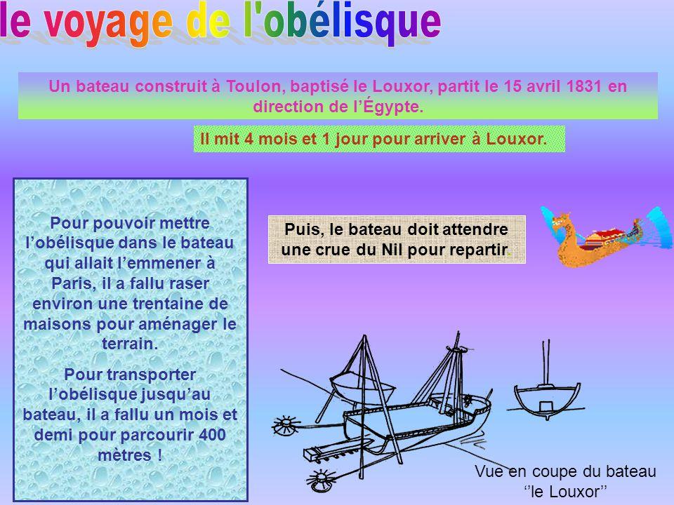 Un bateau construit à Toulon, baptisé le Louxor, partit le 15 avril 1831 en direction de lÉgypte.