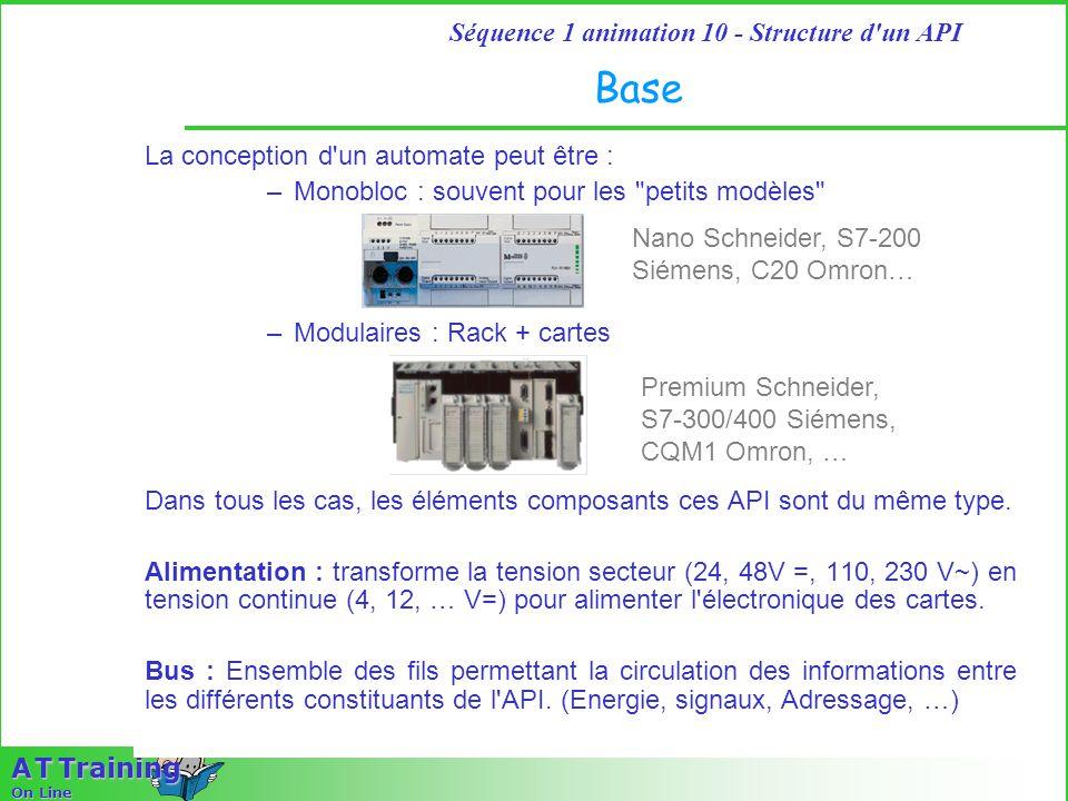 3 Séquence 1 animation 10 - Structure d un API A T Training On Line Base La conception d un automate peut être : –Monobloc : souvent pour les petits modèles –Modulaires : Rack + cartes Dans tous les cas, les éléments composants ces API sont du même type.