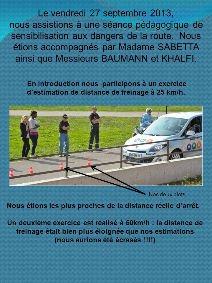 Le vendredi 27 septembre 2013, nous assistions à une séance pédagogique de sensibilisation aux dangers de la route.