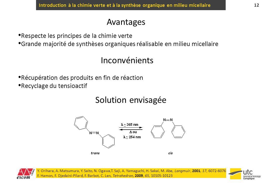 Introduction à la chimie verte et à la synthèse organique en milieu micellaire 12 Inconvénients Récupération des produits en fin de réaction Recyclage