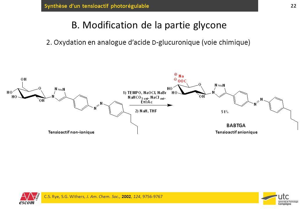 Synthèse dun tensioactif photorégulable 22 C.S. Rye, S.G. Withers, J. Am. Chem. Soc., 2002, 124, 9756-9767 BABTGA 2. Oxydation en analogue dacide D -g