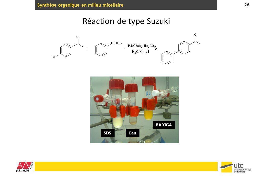 Synthèse organique en milieu micellaire 28 Réaction de type Suzuki SDSEau BABTGA