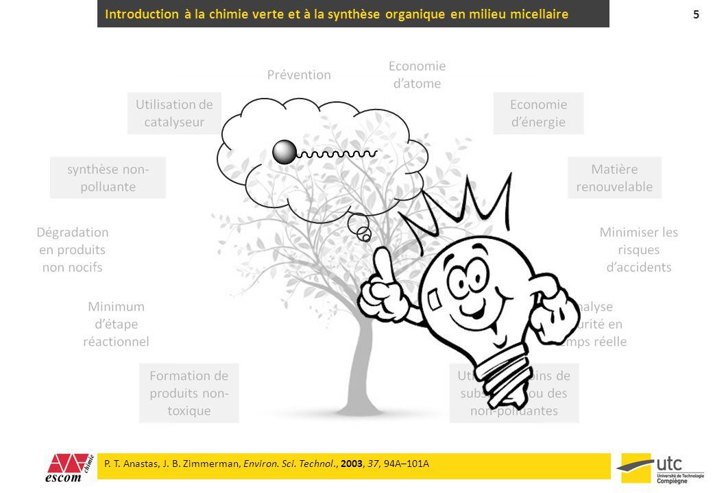 Introduction à la chimie verte et à la synthèse organique en milieu micellaire 5 P. T. Anastas, J. B. Zimmerman, Environ. Sci. Technol., 2003, 37, 94A