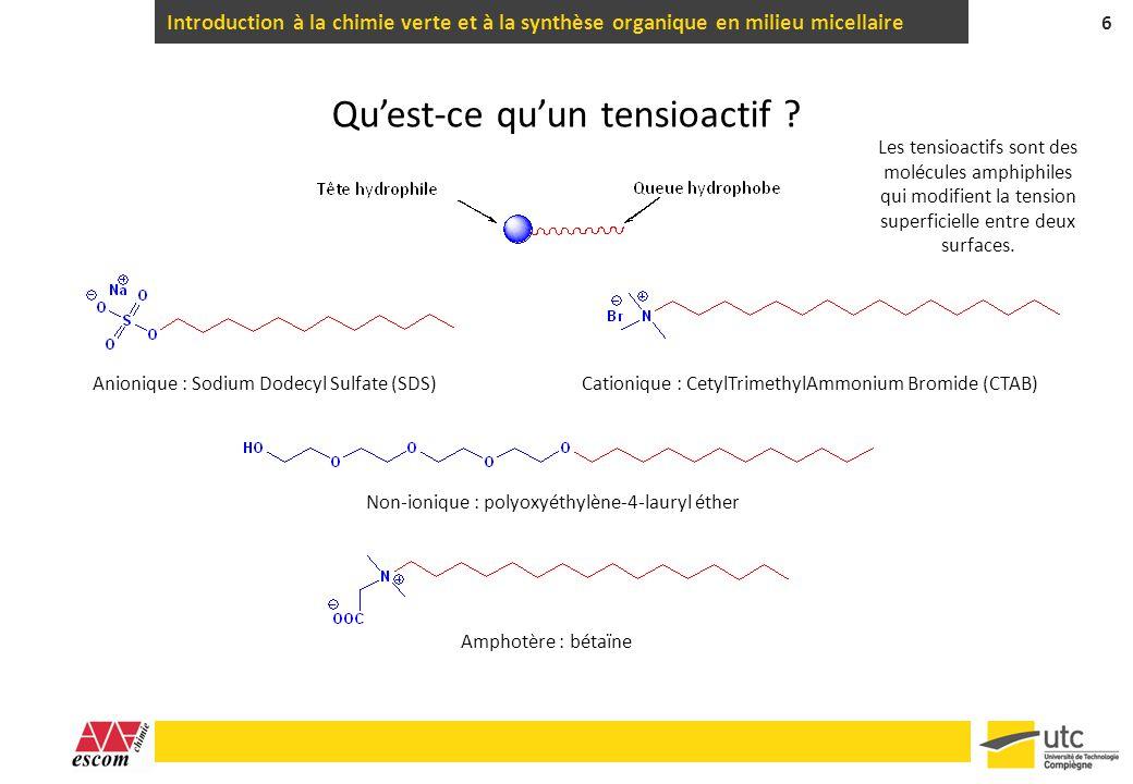 Introduction à la chimie verte et à la synthèse organique en milieu micellaire 6 Quest-ce quun tensioactif ? Anionique : Sodium Dodecyl Sulfate (SDS)C