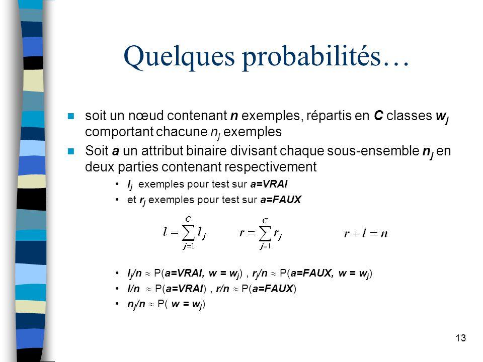 13 Quelques probabilités… soit un nœud contenant n exemples, répartis en C classes w j comportant chacune n j exemples Soit a un attribut binaire divisant chaque sous-ensemble n j en deux parties contenant respectivement l j exemples pour test sur a=VRAI et r j exemples pour test sur a=FAUX l j /n P(a=VRAI, w = w j ), r j /n P(a=FAUX, w = w j ) l/n P(a=VRAI), r/n P(a=FAUX) n j /n P( w = w j )