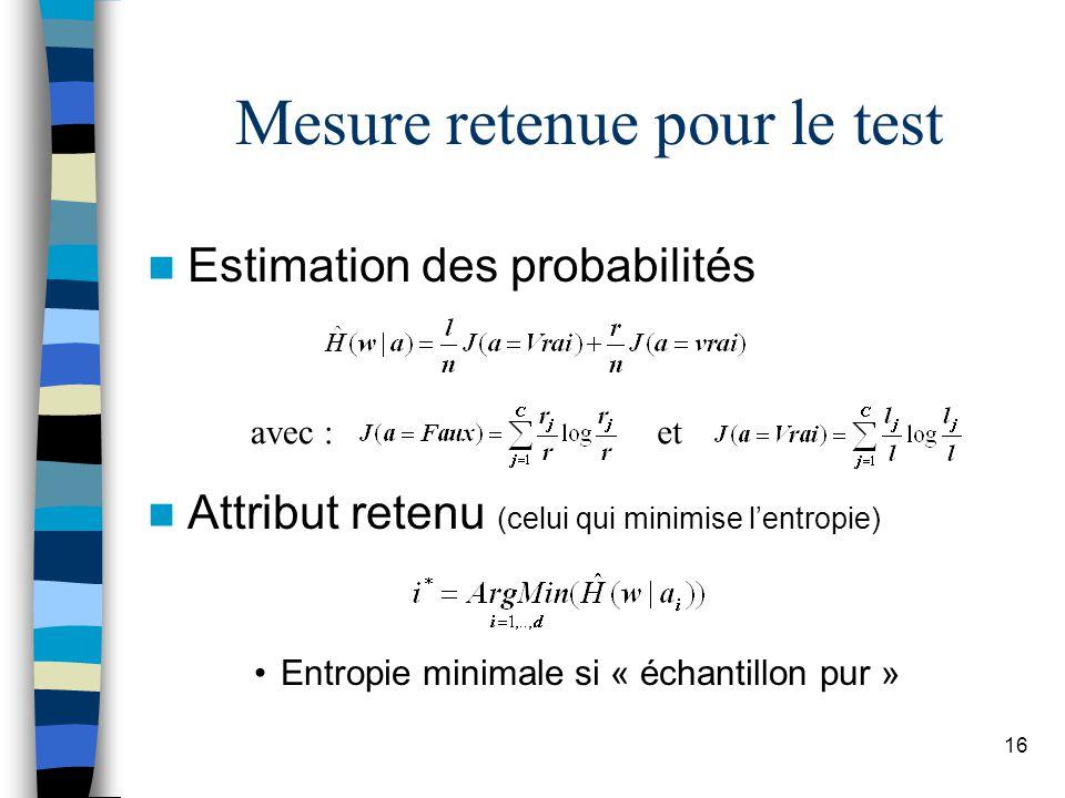 16 Mesure retenue pour le test Estimation des probabilités Attribut retenu (celui qui minimise lentropie) Entropie minimale si « échantillon pur » ave