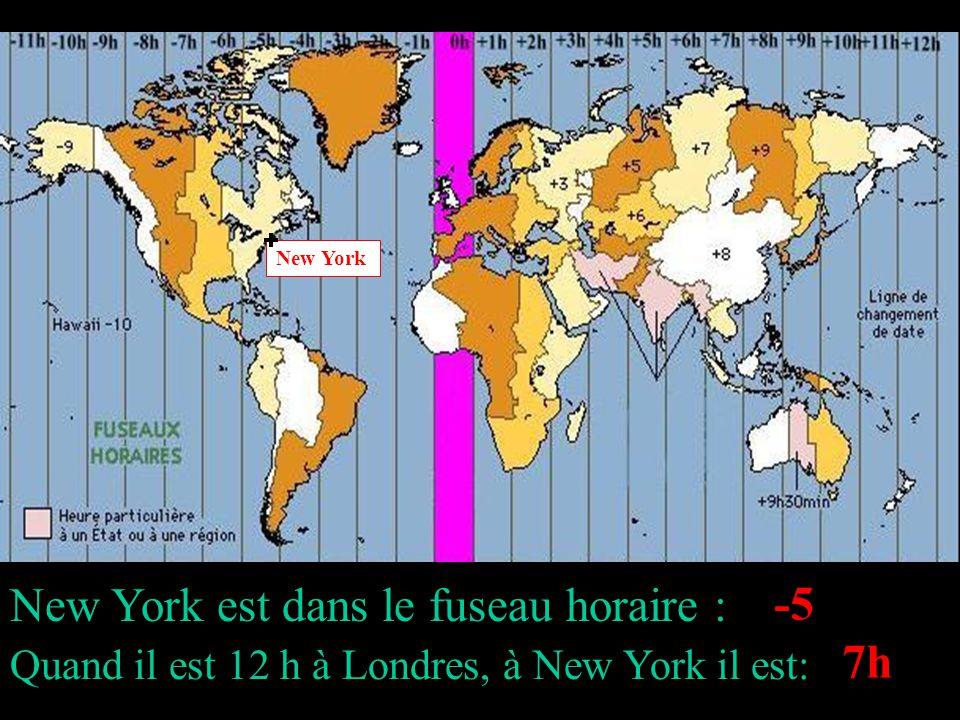 New York est dans le fuseau horaire : Quand il est 12 h à Londres, à New York il est: New York -5 7h