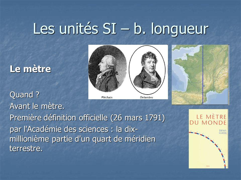 Les unités SI – b. longueur Le mètre Quand ? Avant le mètre. Première définition officielle (26 mars 1791) par l'Académie des sciences : la dix- milli