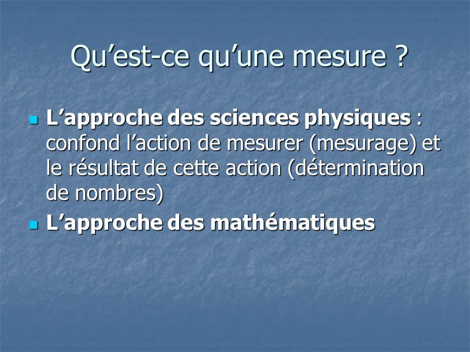 Quest-ce quune mesure ? Quest-ce quune mesure ? Lapproche des sciences physiques : confond laction de mesurer (mesurage) et le résultat de cette actio
