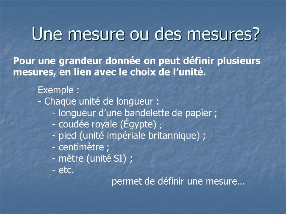 Une mesure ou des mesures? Une mesure ou des mesures? Pour une grandeur donnée on peut définir plusieurs mesures, en lien avec le choix de lunité. Exe