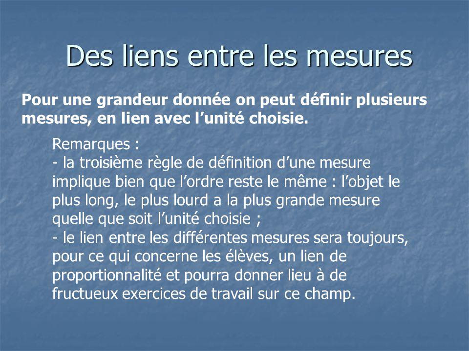 Des liens entre les mesures Des liens entre les mesures Pour une grandeur donnée on peut définir plusieurs mesures, en lien avec lunité choisie. Remar
