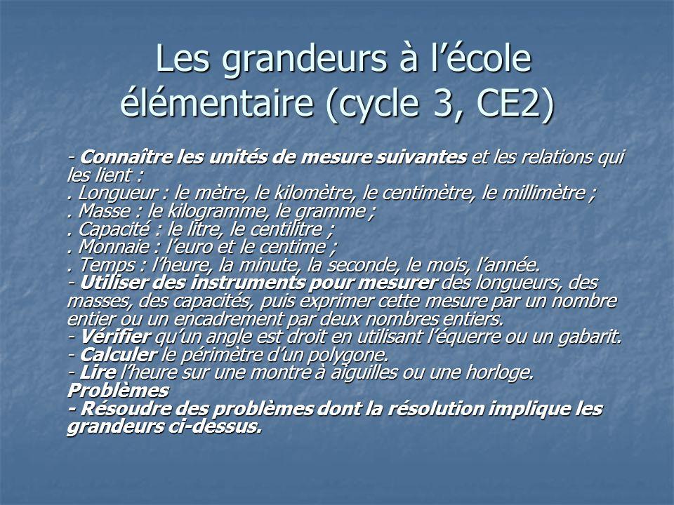 Les grandeurs à lécole élémentaire (cycle 3, CE2) Les grandeurs à lécole élémentaire (cycle 3, CE2) - Connaître les unités de mesure suivantes et les