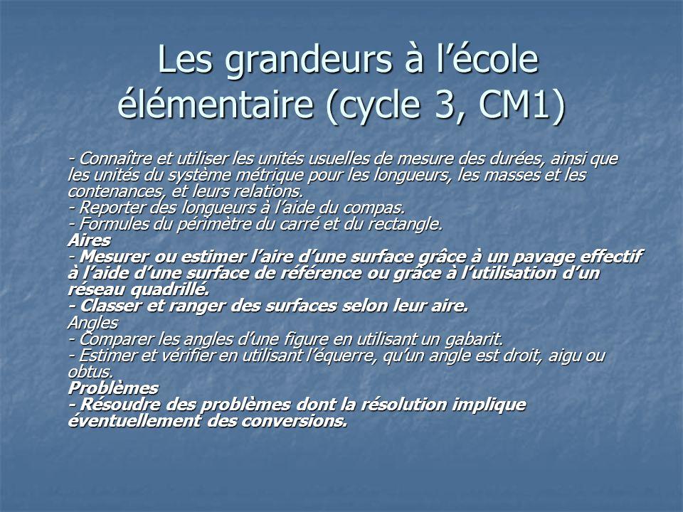 Les grandeurs à lécole élémentaire (cycle 3, CM1) Les grandeurs à lécole élémentaire (cycle 3, CM1) - Connaître et utiliser les unités usuelles de mes