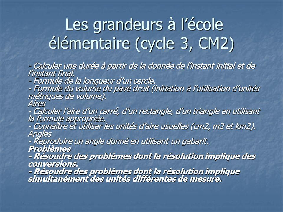 Les grandeurs à lécole élémentaire (cycle 3, CM2) Les grandeurs à lécole élémentaire (cycle 3, CM2) - Calculer une durée à partir de la donnée de lins